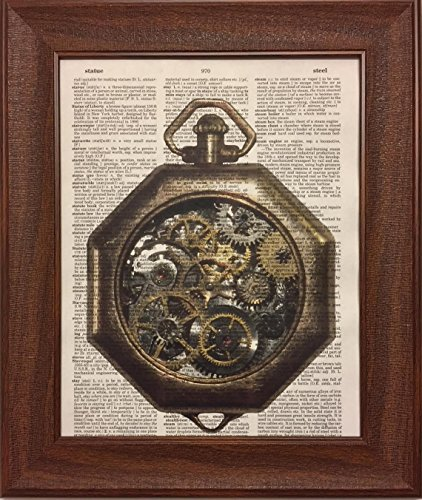 Steampunk Time Piece Watch Dictionary Book Page Artwork Print Picture Poster Home Office Bedroom Kitchen Wall Decor - unframed 3