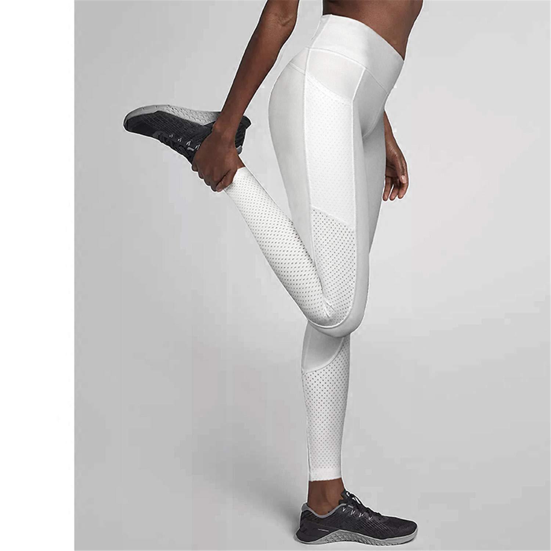 0f80073428922 Amazon.com: Hantioo High Waist Mesh Pocket Yoga Pants for Women Workout  Leggings Tummy Control Running Tights Nylon Jogging Pants Activewear 4  Color White ...