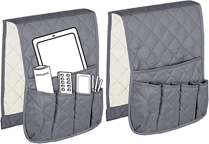TV Remote Control Magazines Book MDSTOP Sofa Couch Chair Armrest Organizer Black Fits for Phone