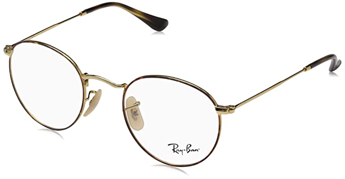 fd1fcac90 Image Unavailable. Image not available for. Color: Ray-Ban Men's RX3447V  Round Metal Eyeglasses Gold On Top Havana 47mm