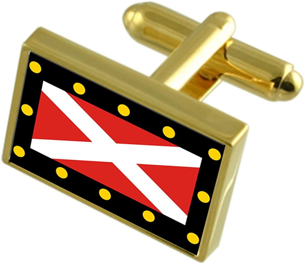 Hampton Poyle City England Gold-tone Flag Cufflinks Engraved Box