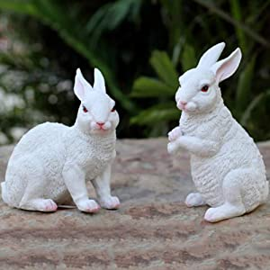 WAYERTY Rabbit Garden Statues,Outdoor Resin Animal Sculptures Simulation Bunny Decor Patio Yard Landscape Lawn Ornaments Figurines Whiteb 20x10x19cm(8x4x7inch)
