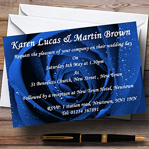 Stunning Royal Blue Rose Personalized Wedding Invitations