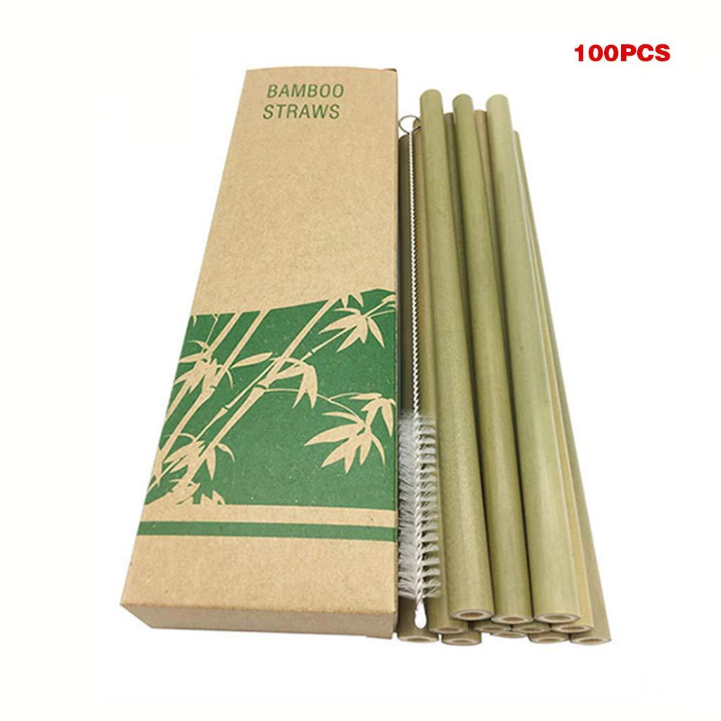 KANXINER 100 Pcs Natural Bamboo Straws + Cleaning Brush, Straws Drinking Reusable Environmentally Friendly Straws Hawaii Party Supplies by KANXINER