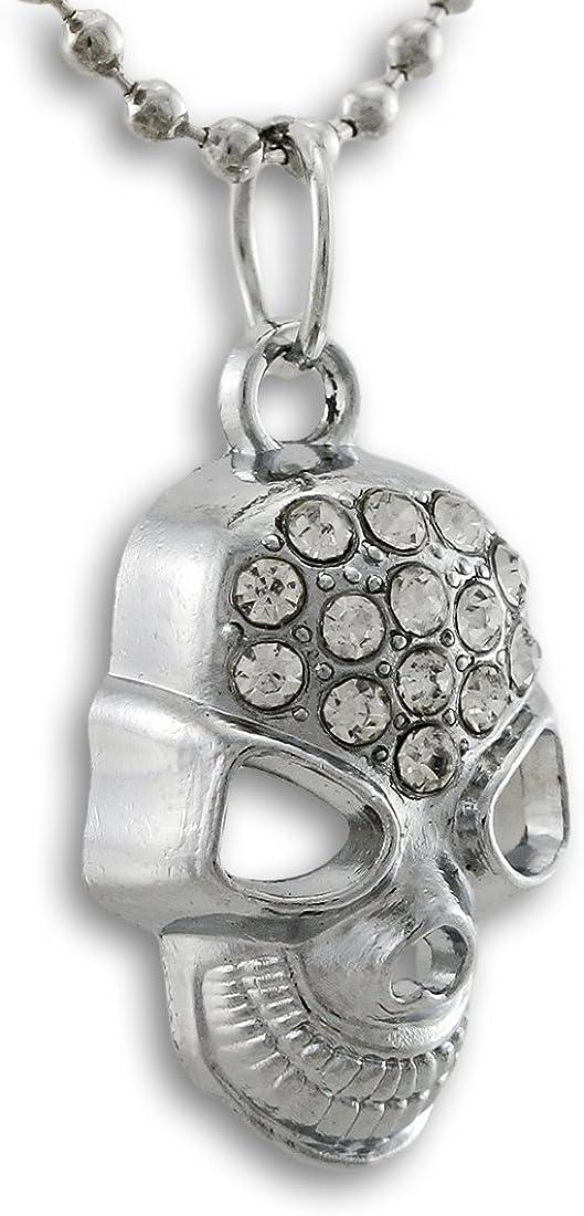 Things2Die4 Collar con Colgante de Calavera con Diamantes de imitación de Tono Plateado, 45,7 cm