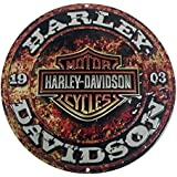 Harley-Davidson Embossed Stone Rust Bar & Shield Tin Sign, Round 14 inch 2011171
