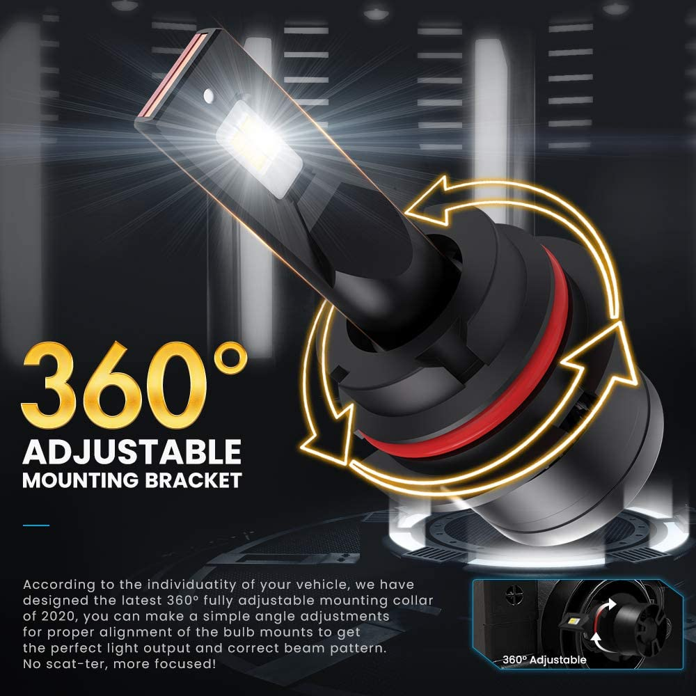 9007 HB5 LED Headlight Bulbs CAR ROVER 100W High Power 20,000LM Extremely Bright 6000K CSP Chips Hi//Lo Beam Conversion Kit Adjustable Beam
