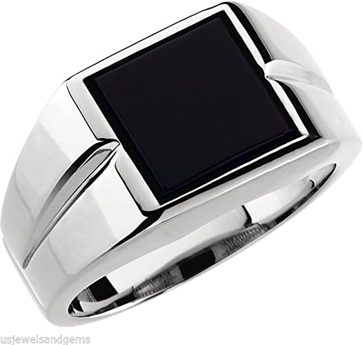 gemstone ring A9 mens Black Onyx ring solid sterling silver ring Black Onyx mens ring