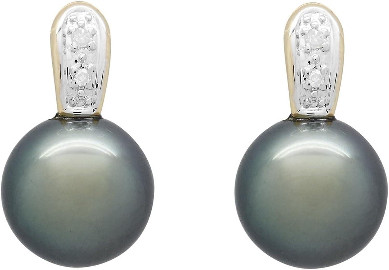 Bijoux pour tous - Pendientes de oro amarillo con perla (.03)