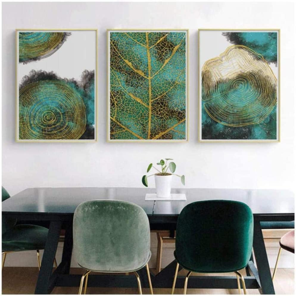 Daapplok Pintura póster cuadro lienzo 3 piezas regalo abstracto dorado verde hoja moda exclusivo pared arte moderno para sala pasillo salón decoración del hogar pieza marco