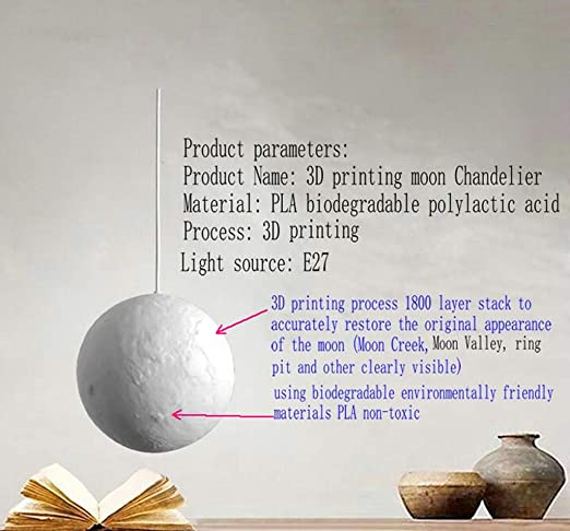 A&DW 3D Colgante de La Impresión de La Luna Luces Creativo Luna ...