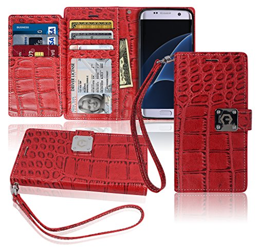 S7 Edge Wallet Case, Matt [ 8 Pockets ] 7 ID / Credit Card 1 Cash Slot, Power Magnetic Clip With Wrist Strap For Samsung Galaxy S 7 Edge Leather Cover Flip Diary (Red)