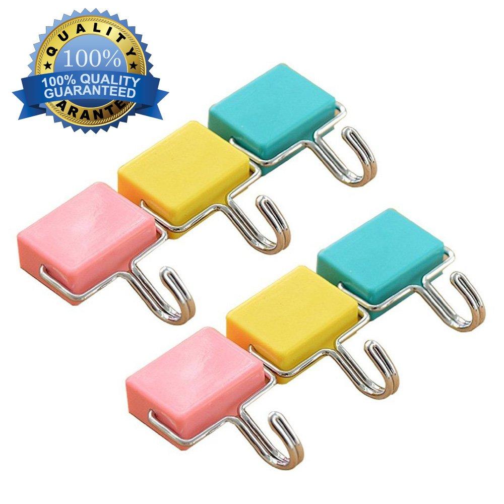 6Pcs All-Purpose Magnetic Hooks Kitchen Strong Magnetic Hooks for Keys,Coat,Fridge and Doors Pastel Pink, Yellow, Blue