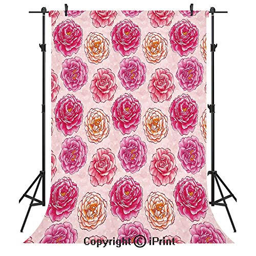 Floral Photography Backdrops,Romantic Rose Petals Fragrance Bouquets Love Classic Blooms Graphic,Birthday Party Seamless Photo Studio Booth Background Banner 5x7ft,Magenta Light Pink Coral