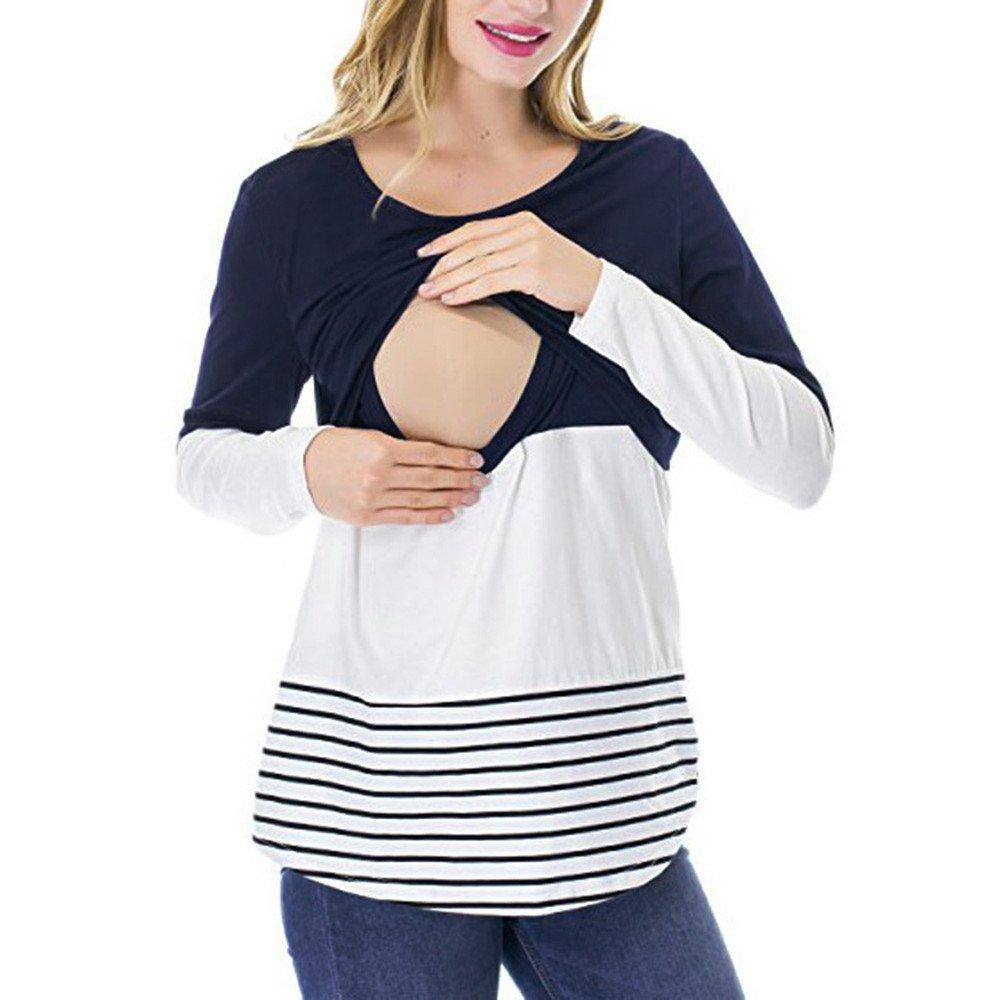 STRIR Camiseta De Mujeres Ropa para La Lactancia De Maternidad De Raya para Mujeres Las Mujeres Embarazadas Maternidad Enfermerí A Raya Lactancia Top Camiseta Blusa