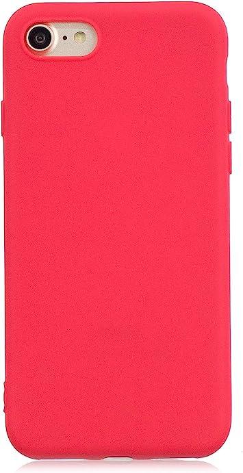 cuzz Funda para iPhone 7//8+{Protector de Pantalla de Vidrio Templado} Carcasa Silicona Suave Gel Rasgu/ño y Resistente Tel/éfono M/óvil Cover-Rojo