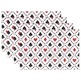 WARMFM Ethel Ernest Cool Poker Cards Square Heat-resistant Placemats, Polyester Tablemat Place Mat for Kitchen Dining Room Set of 4