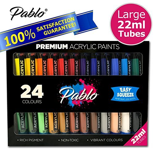 PABLO - 24 Premium Acrylic Paint Set (22ml Easy Squeeze Tubes) Ideal for paper, canvas, wood, ceramic, fabric & crafts. Non toxic, vibrant colours & rich pigment. Suitable for all levels.