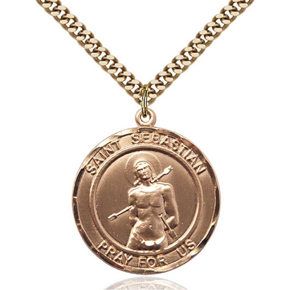 Gold Filled St. Sebastian Pendant 1 x 7/8 inches with Heavy Curb Chain by Bonyak Jewelry Saint Medal Collection