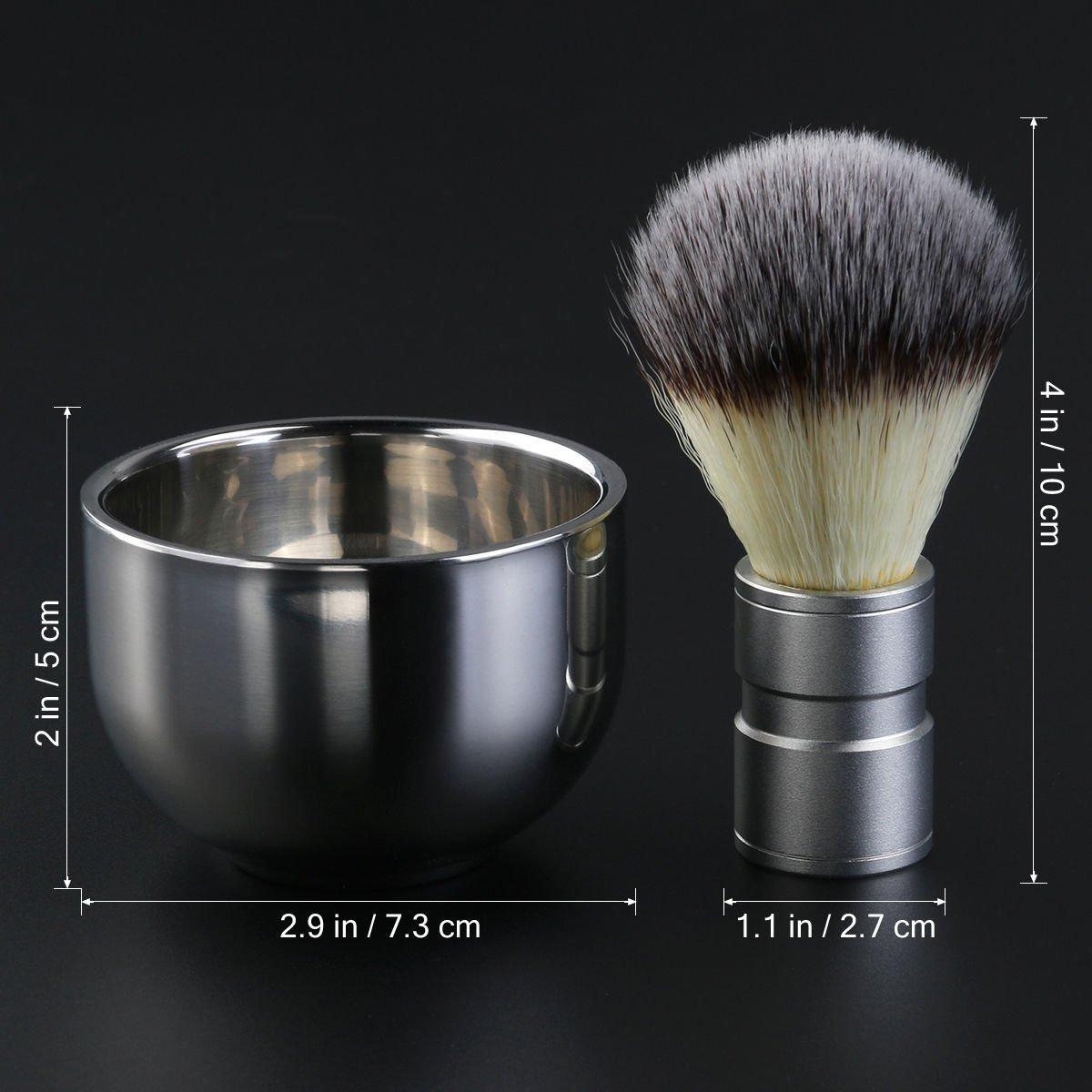 Gadgetzone® Stainless Steel Shaving Brush and Shaving Bowl Set. Turkish Shave Hot Shave Mens Grooming Kit Shaving Set for Men. Great Gift.