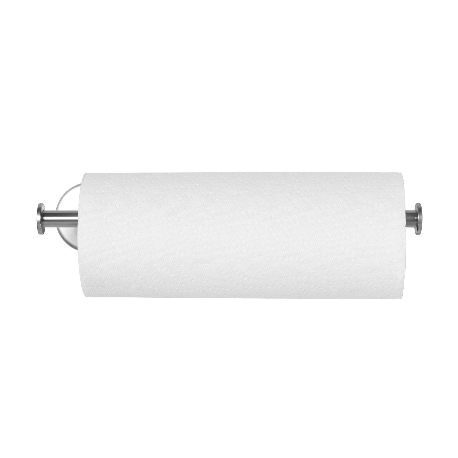 Paper Towel Holder - Umbra Wall Mount Towel Paper Holder - Elegant Nickel Finish - Heavy Duty to Pull Sheets with One Hand - Fits Most Towel Paper Roll Sizes - Under Cabinet for Kitchen Organization UM-1004327-410