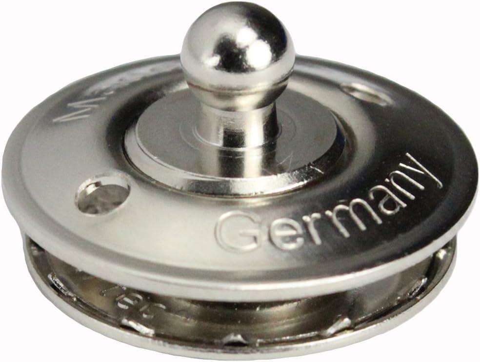2 St/ück LOXX/® Oberteil Knopf Gro/ß f/ür Stoff bis 5 mm Messing vernickelt Schnellverschluss