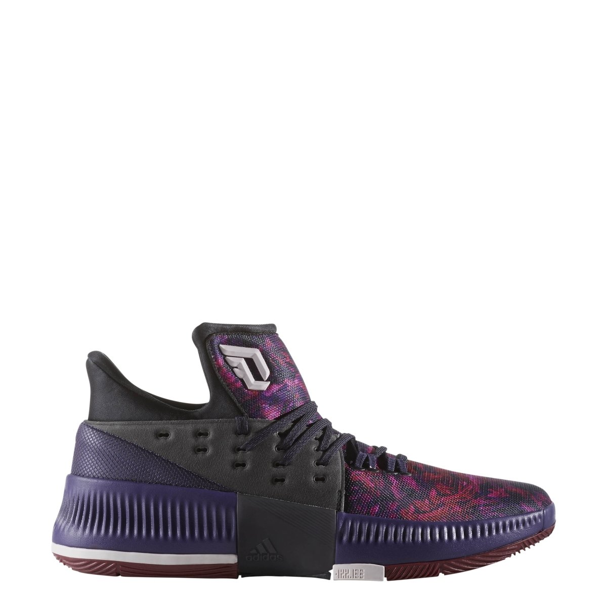 adidas Dame 3 Shoe Men's Basketball 11 Core Black-Ice Purple-Burgundy