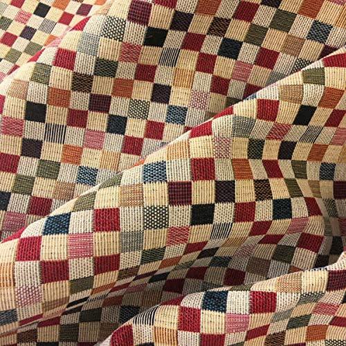Tela por Metros de tapicería -- Ancho 280 cm - Largo a elección de 50 en 50 cm | Cuadros pequeños - Rojo...