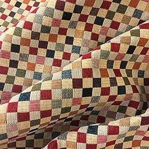 Tela por metros de tapicería - Jacquard Gobelino - Ancho 280 cm - Largo a elección de 50 en 50 cm   Cuadros
