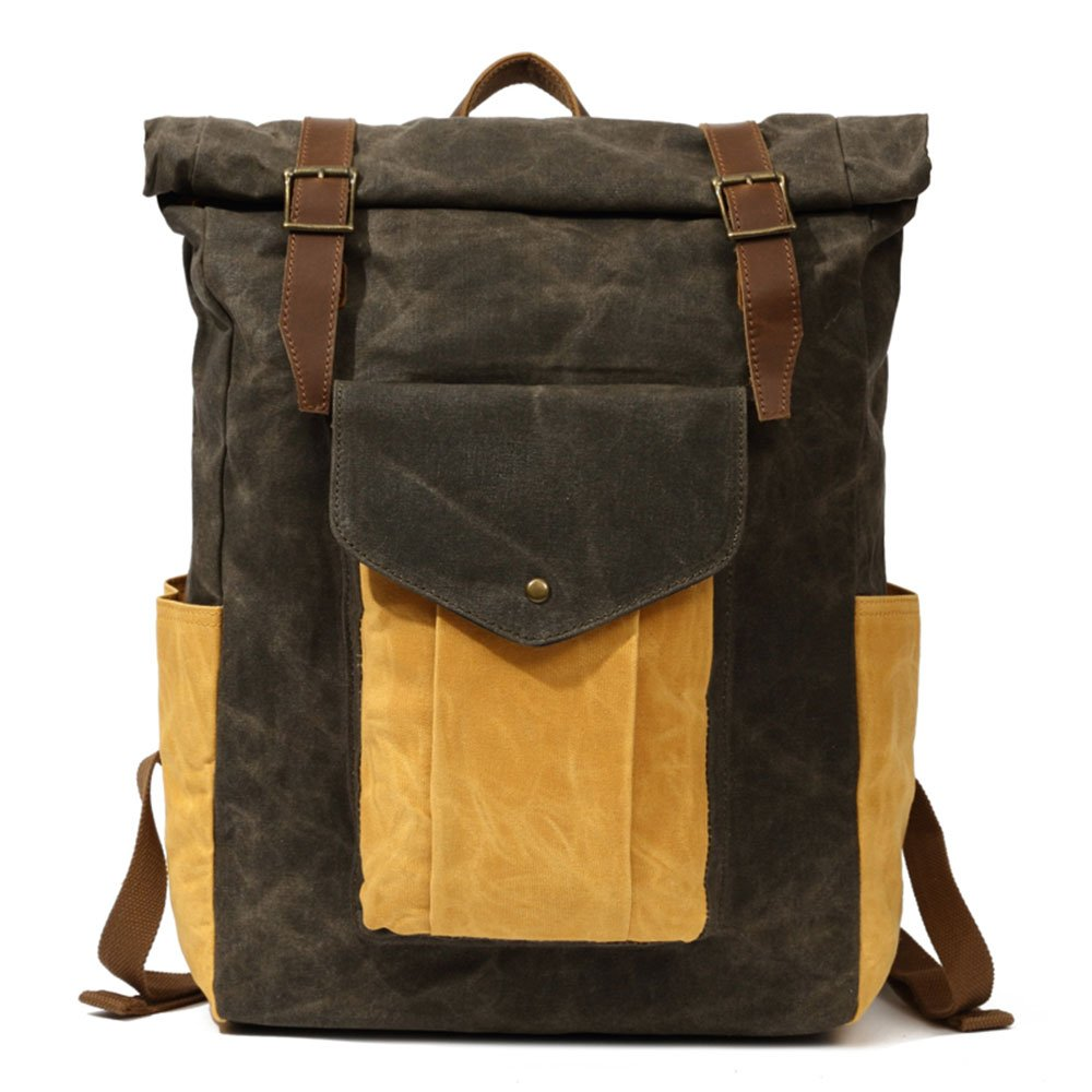 Partrisee Vintage Waxed Canvas Leather Backpack Large 17'' laptop Purse Rucksack School Gift Bag for men women-Army Green