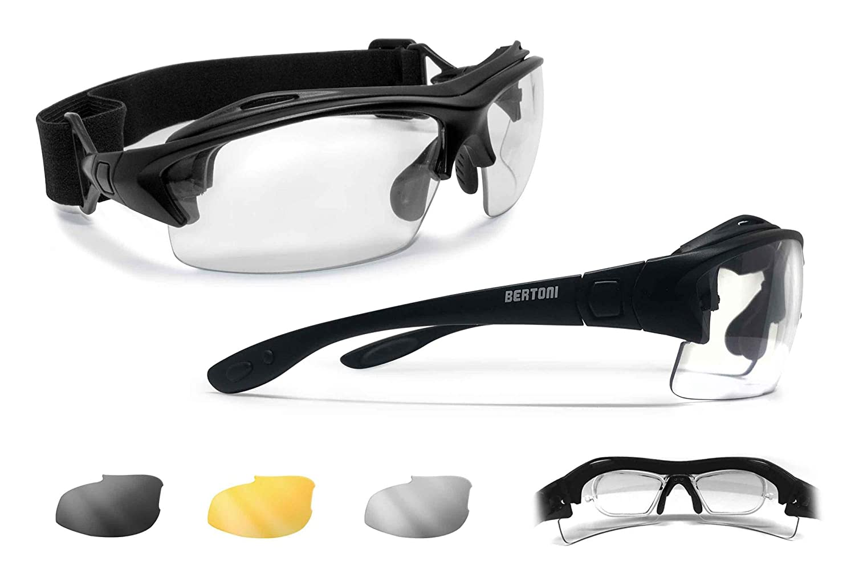 0fa4207078 Amazon.com   Bertoni Prescription Sport Sunglasses Goggles - 3  Interchangeable Antifog Lenses - Sport Glasses with Optical Clip for  Pescription Lenses ...