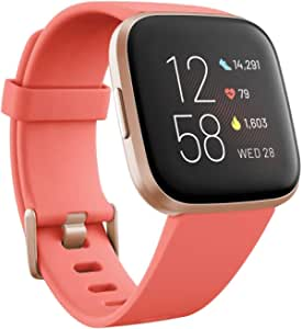 Fitbit Unisex's Versa 2 Health & Fitness Smartwatch with Voice Control, Sleep Score & Music, Blossom, with Alexa Built, One