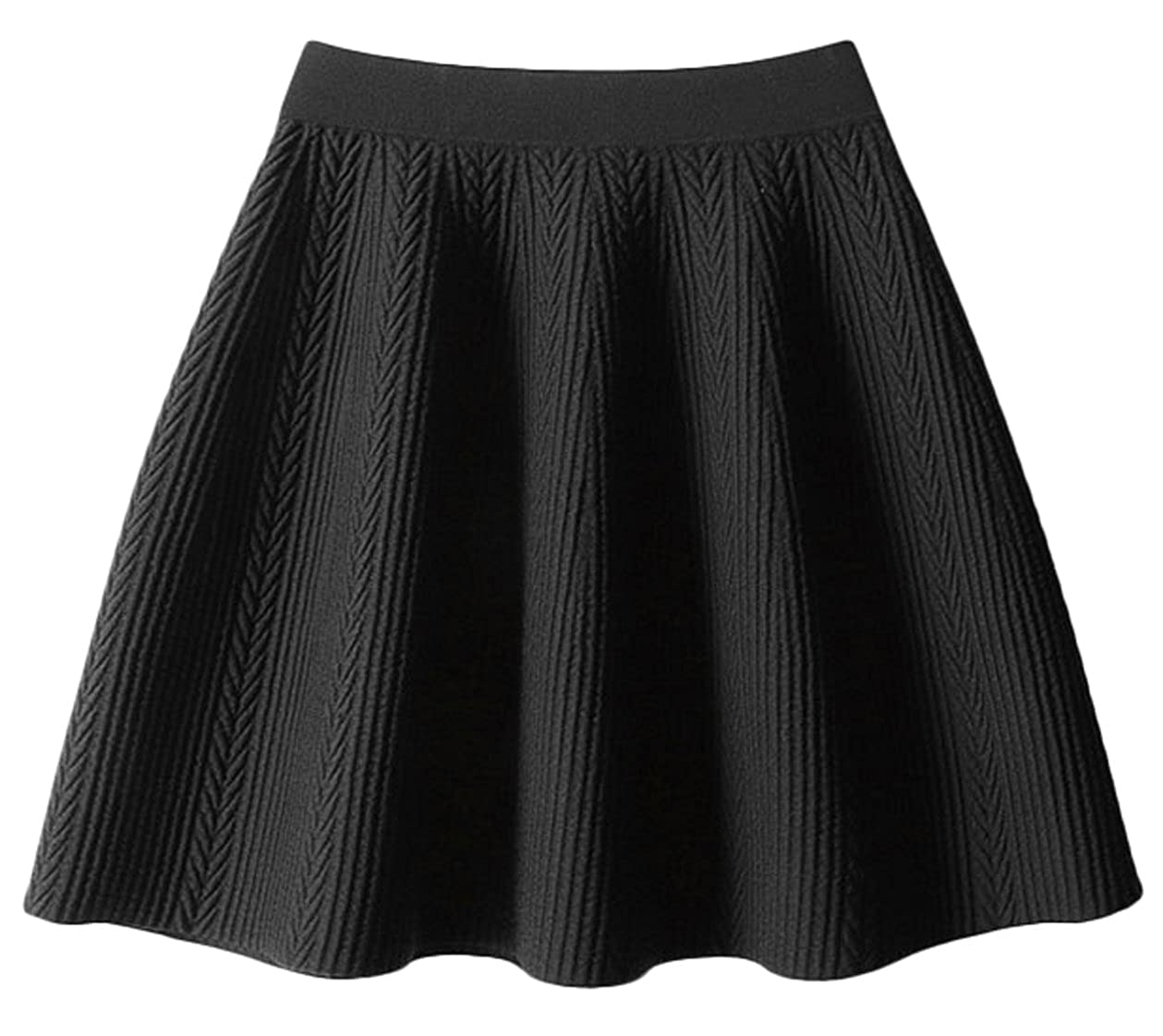 496019bd28 Youhan Women's Winter Pleated A-Line Cable Knit Mini Skirt (Free Size,  A/Black) at Amazon Women's Clothing store: