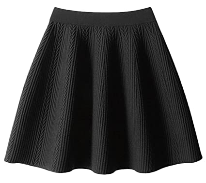 3d56dbb3d2 Youhan Women's Winter Pleated A-Line Cable Knit Mini Skirt (Free Size, A