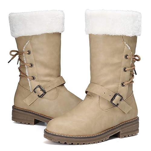 Gracosy Bottes de Neige Femmes Hiver, Bottes Hautes Plates avec Fourrure Chaude Doublure Intérieur Fourrée Confortable Chaussures de Ville Hiver à
