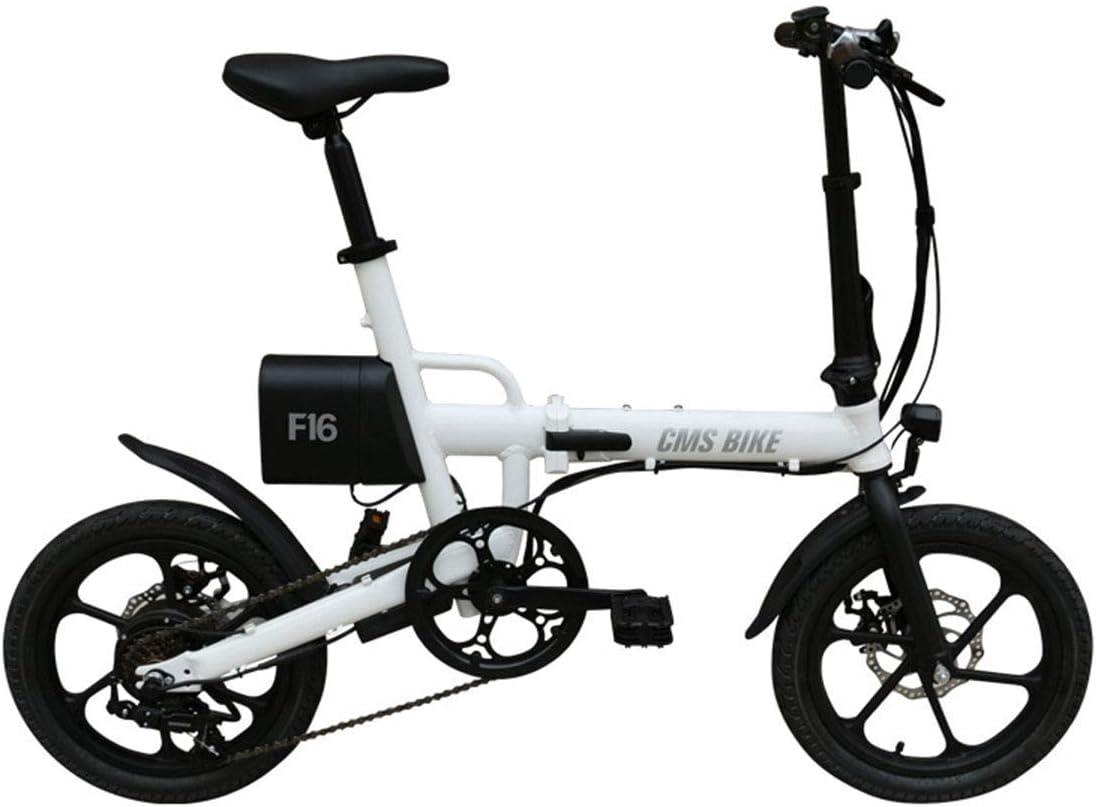 Daxiong Bicicleta eléctrica Plegable Coche eléctrico eléctrico de Litio de Velocidad Variable de 16 Pulgadas, Fácil de Trabajar, Fácil de Llevar,White: Amazon.es: Deportes y aire libre