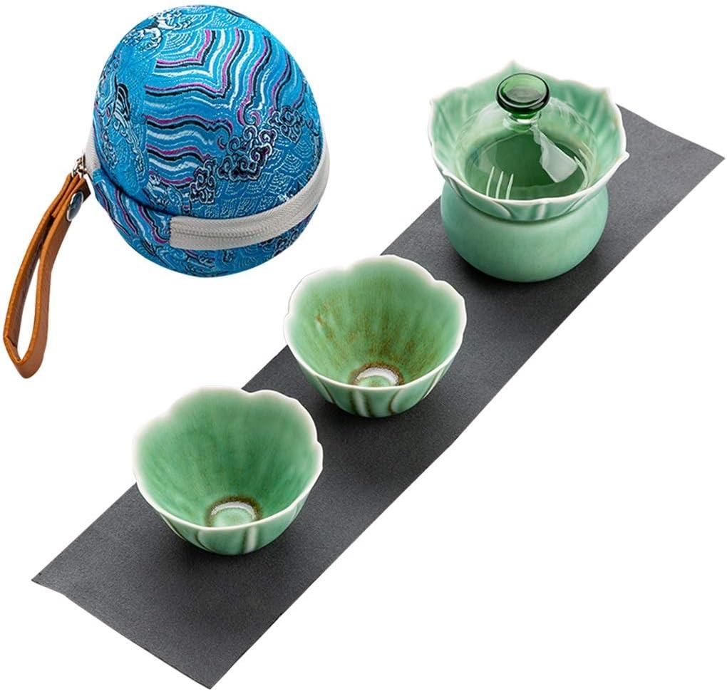 FSJKZX Juego de té Kung Fu Juego de té pétalo Tridimensional rápida Copa de huéspedes, una cafetera, Dos Copas, Dos Copas, Kit de Viaje, Juego de té al Aire Libre Regalo Damas Juego de té (Color : A)