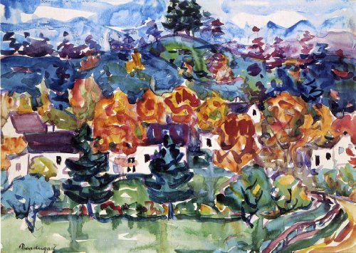 Hillside Village (Maurice Prendergast Hillside Village - 18.1