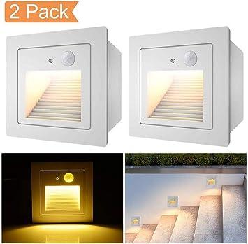 LHY LIGHT 3W de Pared empotrada Paso Luces del Sensor de Movimiento LED Escaleras Luz Noche Jardín Cocina Patio Zócalo Escalera Guía de iluminación de la lámpara: Amazon.es: Deportes y aire libre