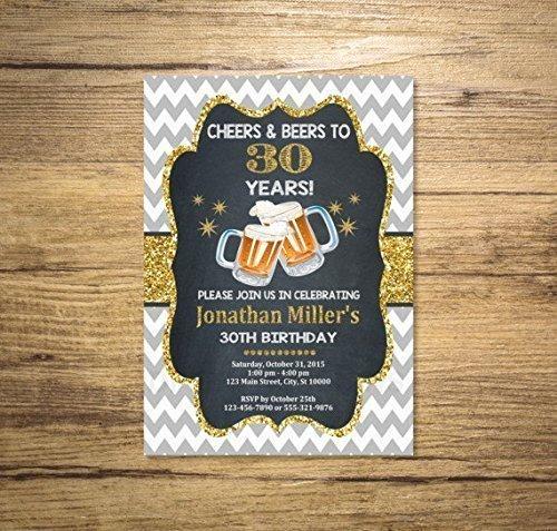 Cheers And Beers Invitation Chevron Chalkboard Gold Digital Glitter 21st