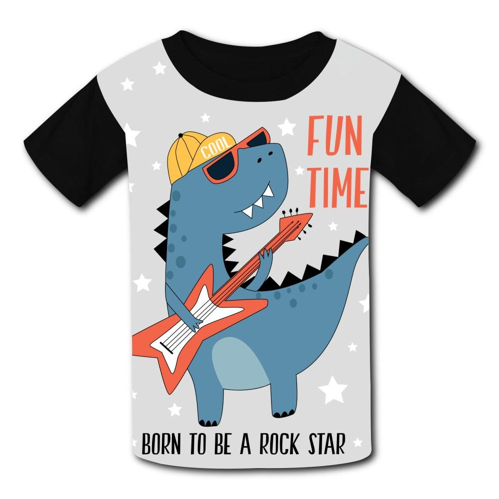 riverccc6.1500 Dinosaur Rock Star Fun Time Youth T-Shirt Boys Girls Tee