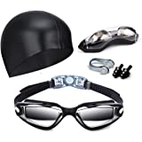 Hurdilen Swim Goggles, Swimming Goggles Anti-Fog UV Protection Coated Lens No Leaking with Swim Cap,Nose Clip,Earplugs,Case for Men Women Adult Youth Kids