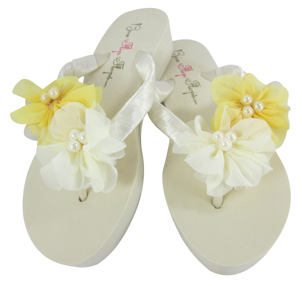 ee53b507f660a Amazon.com  Low Ivory Heel Wedding Flip Flops with Yellow Chiffon   Pearl  Flowers