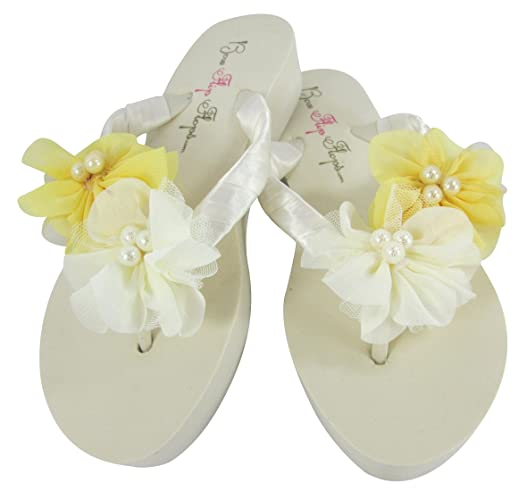 29c75e59ff24c Image Unavailable. Image not available for. Color  Low Ivory Heel Wedding  Flip Flops with Yellow Chiffon   Pearl Flowers