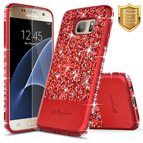 Galaxy S7 Case with [Screen Protector HD Clear], NageBee Shiny Diamond Glitter Bling Crystal Super Slim Protective Soft TPU Leather Hybrid Case for Samsung Galaxy S7 G930 (Red)