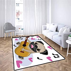 Pug Kids Playmat Hand Drawn Head of a Dog for Play Area Playroom Bedroom
