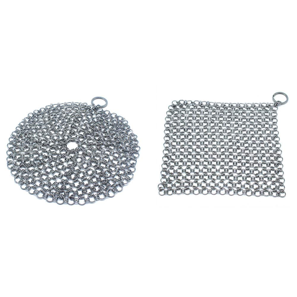2 Pack Stainless Steel Cast Iron Skillet Cleaner Square 7x7 inches and Round 7 inches Diameter 316L Ringer Chainmail Scrubber for Dutch Ovens Waffle Iron Pans BBQ Grill Scraper by Vanktion