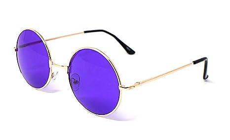 Retro Tondo Metallo Occhiali da Sole Donne Maschi Uomo Flash Specchio Riflessivo Cerchio Lente UV400 (Oro/Viola Flash) xnSx0