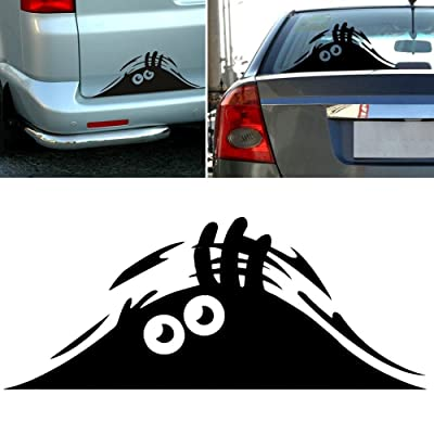 "Peeking Monster Funny Scary Eyes Decal Sticker for Car Walls Windows Graphic Vinyl Car (5.5"" inches (Black): Automotive [5Bkhe0414633]"