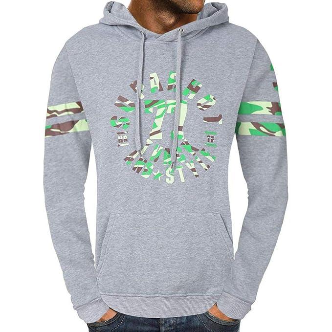 Yvelands Casual Sudadera con Capucha Outwear Mens Handsome Personality Moda Casual Carta Warm Outwear Tops Blusa Vacaciones Otoño Invierno, ...